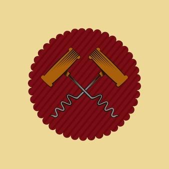 Siegelstempel mit korkenzieher-symbol