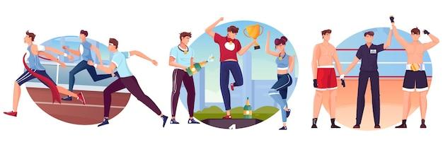 Sieger-set aus drei kompositionen mit läufern, die die ziellinie überqueren, boxern mit richter und siegerpodest