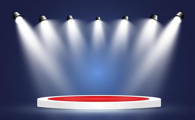 Siegerhintergrund mit zeichen des ersten, zweiten und dritten platzes auf einem runden sockel. siegerpodest sport.