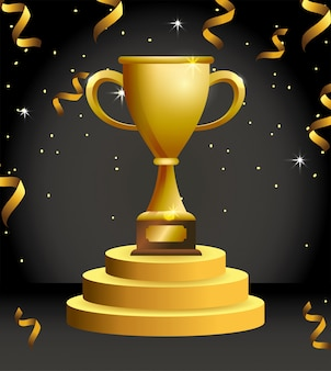 Siegerpokalpreis mit konfetti-feier