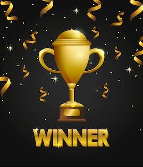 Siegerpokalpreis mit konfetti zum champion