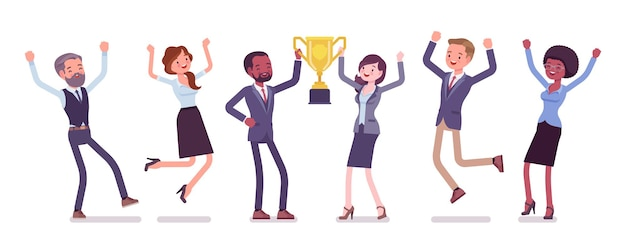 Siegerteam mit business-trophäe