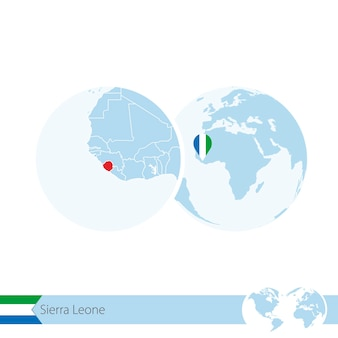 Sierra leone auf der weltkugel mit flagge und regionaler karte von sierra leone. vektor-illustration.