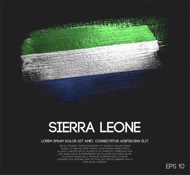 Sierra leone flagge aus glitzer sparkle pinselfarbe