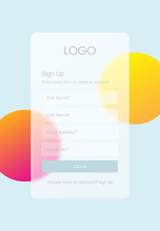 Sign up page glassmorphism design concept for ui ux gui screen template
