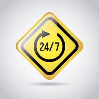 Signal 24-7 über grauer hintergrundvektorillustration