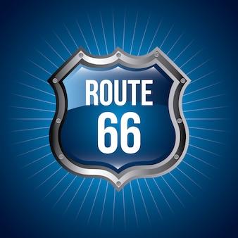 Signal der route 66 über blauer hintergrundvektorillustration