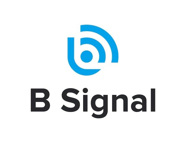 Signal wifi mit buchstabe b einfaches schlankes kreatives geometrisches modernes logodesign