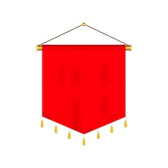 Signalisieren sie rote lange sportwerbungswimpel-fahnenproben auf realistischem satz des pfostenstand-stützsockels.