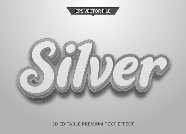 Silber 3d bearbeitbarer textstileffekt premium-vektor