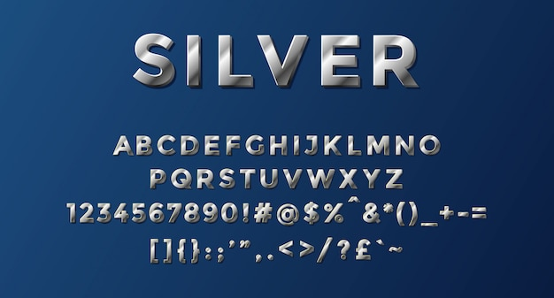 Silber alphabet mit zahlen und symbolen abgeschlossen