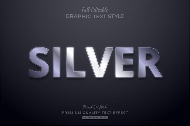 Silber eleganter bearbeitbarer texteffekt-schriftstil