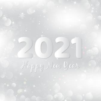 Silber frohes neues jahr 2021 hintergrund