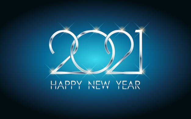 Silber frohes neues jahr 2021 in blauem hintergrund