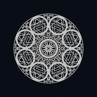 Silber geometrische mandala lineart illustration auf schwarz isoliert