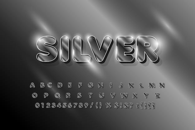 Silber glänzende alphabetschrift. fettgedruckte buchstaben und zahlen.