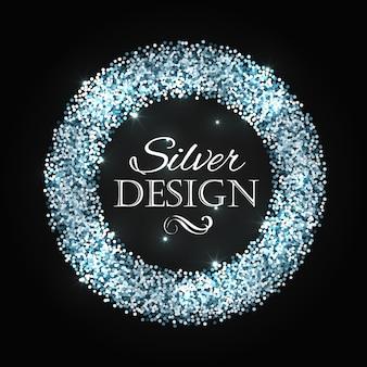 Silber glitter weihnachtsrahmen mit kalligraphieelementen.