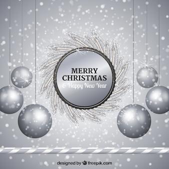 Silber hintergrund der silbernen weihnachtskugeln