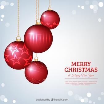Silber hintergrund mit roten kugeln weihnachten