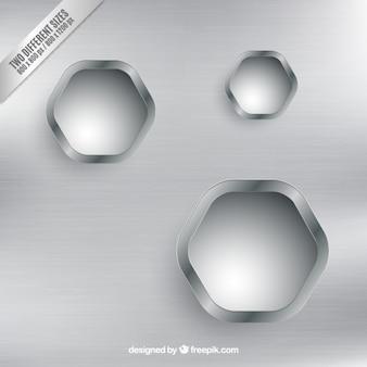 Silber hintergrund mit sechskant-abzeichen