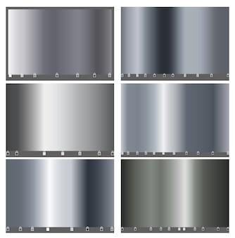 Silber metall luxus großen satz von einfachen farbverlauf. silbermetallic glattes folienmaterial für den abstrakten hintergrund. design für rahmen, bänder, münzen, app, mobile cover wallpaper. .