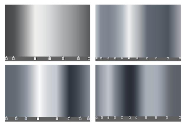 Silber metall luxus großen satz von einfachen farbverlauf. silbermetallic glattes folienmaterial.