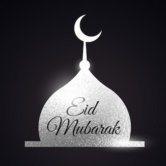 Silber moschee form eid mubarak muslime festival