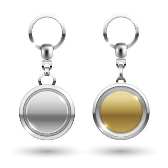 Silber und gold schlüsselanhänger in runden formen
