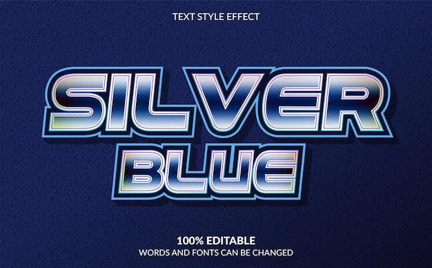 Silberblauer bearbeitbarer texteffekt moderner textstil