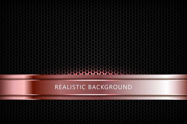 Silberbraune abstrakte dimension auf schwarzem sechseck-texturhintergrund. realistische überlappung schichtet textur mit lichtelementdekoration.