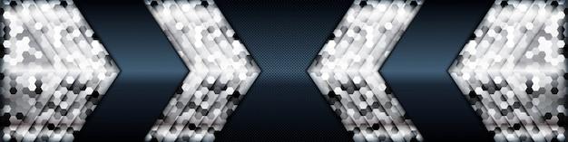 Silberlistendimension auf schwarzem texturhintergrund. realistische dunkle überlappungsschichtstruktur mit silberner lichtelementdekoration