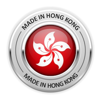 Silbermedaille made in hong kong mit flagge