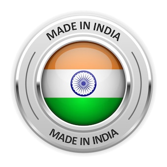 Silbermedaille made in india mit flagge