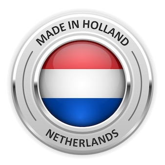 Silbermedaille made in netherlands mit flagge