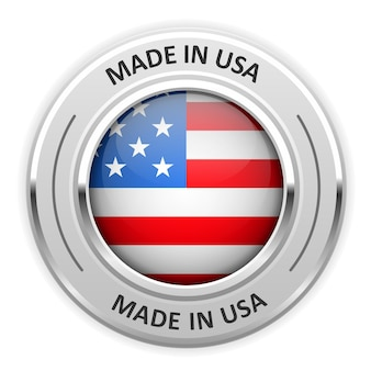 Silbermedaille made in usa mit flagge