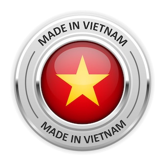 Silbermedaille made in vietnam mit flagge
