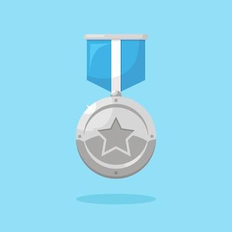 Silbermedaille mit band isoliert auf blau