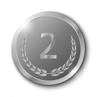 Silbermedaille mit olive branch auf weißem hintergrund