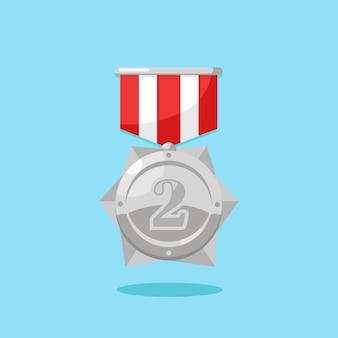 Silbermedaille mit rotem band für den zweiten platz. trophäe, gewinnerpreis auf blauem hintergrund. abzeichensymbol. sport, geschäftsleistung, siegeskonzept.