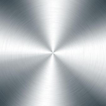 Silbermetallic radialverlauf mit kratzern. oberflächeneffekt der oberfläche von titan, stahl, chrom, nickelfolie.