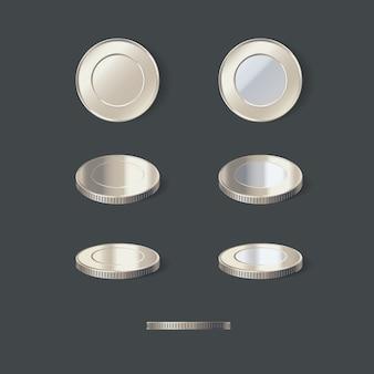 Silbermünzen setzen illustration