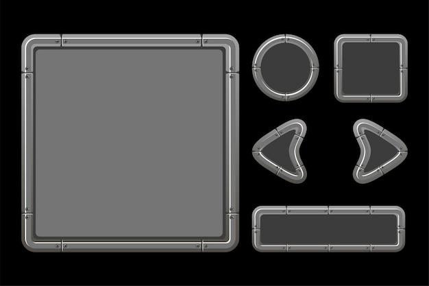 Silberne benutzeroberfläche für das spielmenü