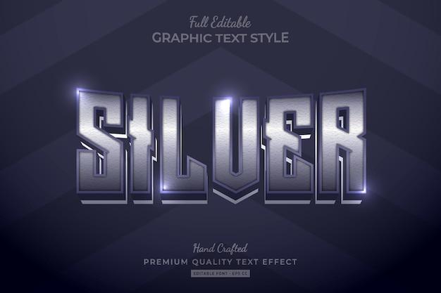 Silberne elegante bearbeitbare premium-texteffekt-schriftart