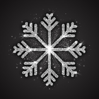 Silberne funkelnde schneeflocke-weihnachtsdekoration