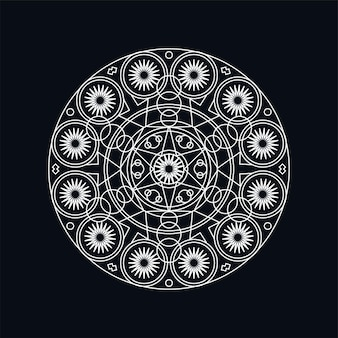 Silberne geometrische mandala lineart illustration isoliert auf schwarz. traditionelles motiv. boho-tattoo