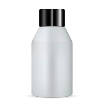 Silberne kosmetische flasche. feuchtigkeitscreme lotion tonic