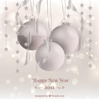 Silberne neujahrs-kugeln