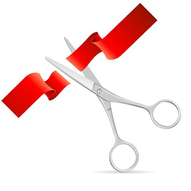 Silberne schere schneidet rotes band.