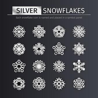 Silberne schneeflocken-icons set