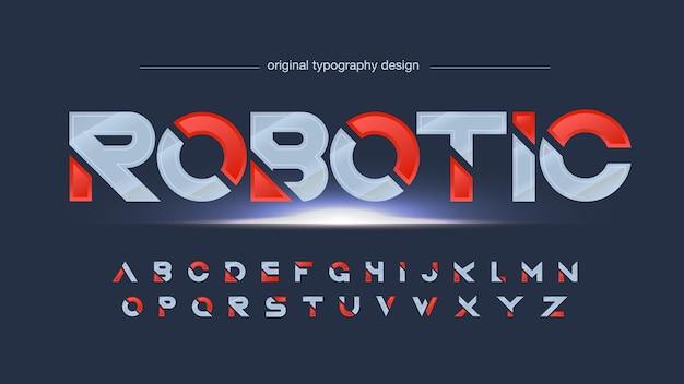 Silberne und rote futuristische geschnittene metallische typografie